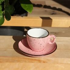 Šálka na espresso s podšálkou ružová