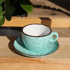 Šálka na cappuccino s podšálkou zelená